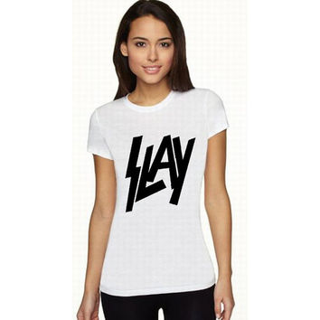 SLAY graphic ladies tank or tee choose 5 colors shirt top rocker metal trendy retro womens funny 80s Slayer band music vintage rock glitter