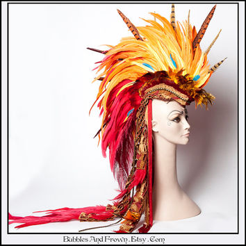 Phoenix N Fire... Feather Mohawk in Phoenix Colors