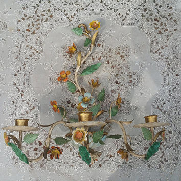 Mid Century Tole Floral  Three Candle Wall Sconce