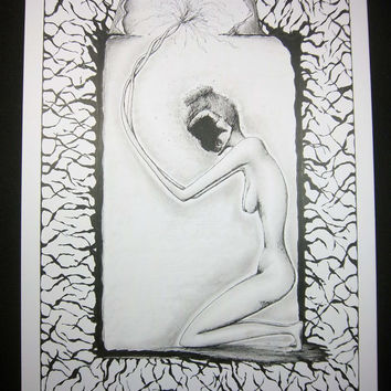 DEATH is THE END: Original artwork in pen and ink, surreal pen drawing, black and white nude illustration, 9x12 inches