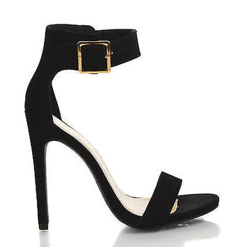 Canter Black Lami by Delicious, Black Lami Delicious Women's Single Sole Ankle Strap High Heels