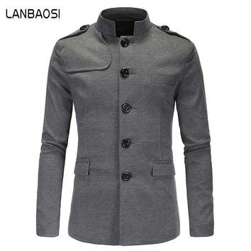 LANBAOSI Winter Men Wool Pea Coats Mens Slim Solid Overcoat Trench Coats Male Epaulet Wool & Blends Coats Double Split Clothing