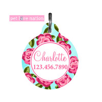 Personalized Pet Tag, Dog Tag, ID Tag, Preppy Floral Pet Tag With Name And Phone Number, Identification Tag