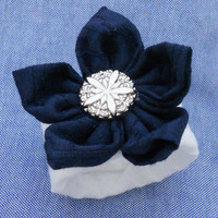 8 Nautical Navy and White Upcylcled Wedding Napkin Rings w/ Silver Vintage Style Button