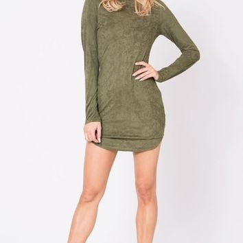She Will Be Loved Olive Suede Dress