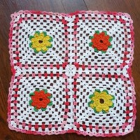 """Handmade Granny Square Crocheted Lace Doily Table Cup Mat Pink White Yellow 13"""""""