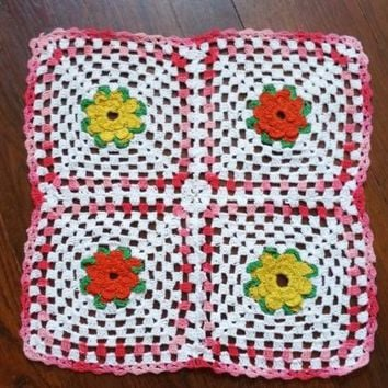 Handmade Granny Square Crocheted Lace Doily Table Cup Mat Pink White Yellow 13""