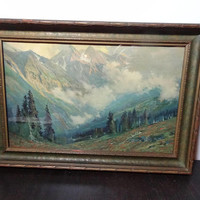 "Antique 1917 Charles Partridge Adams ""After the Storm"" Wood Framed Volchrome Print - San Juan Mountains, Colorado"