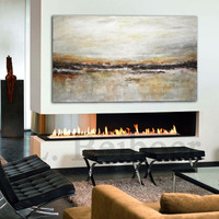 Large original abstract landscape painting 36 x 60 tan brown olive modern abstract art oil painting by L.Beiboer