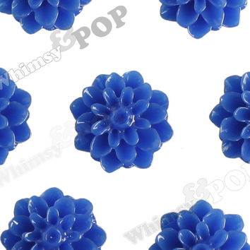 ROYAL BLUE 15mm Dahlia Chrysanthemum Flower Cabochons