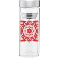 Mehndi Double Wall Glass Tumbler
