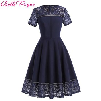 Belle Poque Sexy Vintage Summer Lace Dress 2018 Women Rockabilly Clothing Short Sleeve Princess Tea Dress Swing Party Dresses