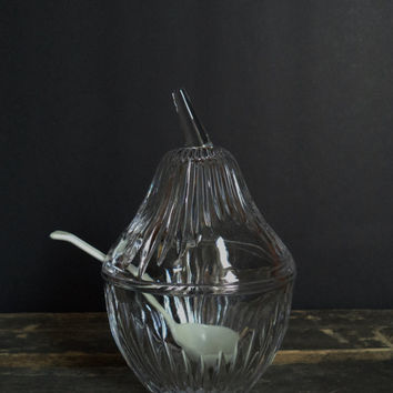 Pear Shaped Cut Crystal Jam Condiment Jar Serving Entertaining Sugar Bowl