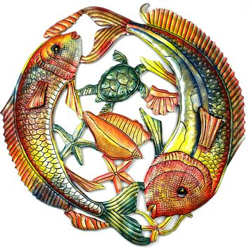 24 inch Painted Two Fish Jumping Metal Wall Art