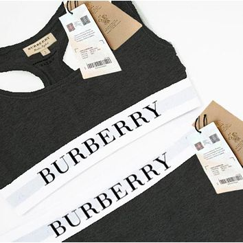 """Burberry"" Trending Women Stylish Gym Running Sports Vest Tan Top Trouser Sweatpants Two Piece Set Black"