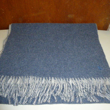 Vintage Lauren Ralph Lauren Lambswool Blend Shawl Wrap Thick Blue Made in Italy