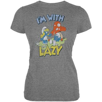 Smurfs - I'm With Lazy Vintage Juniors T-Shirt