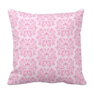 Chic stylish ornate cute pink damask pattern throw pillow