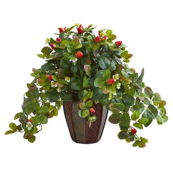Artificial Plant -19 Inch Strawberry Plant in Decorative Planter