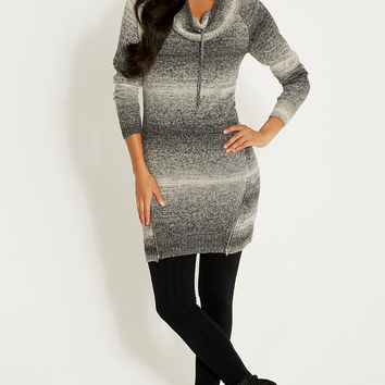 sweater dress with cowl neck and zippers