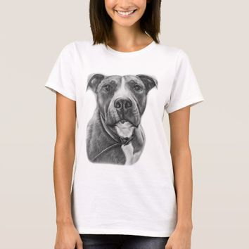 Drawing of Pit Bull Dog Animal Art T-Shirt