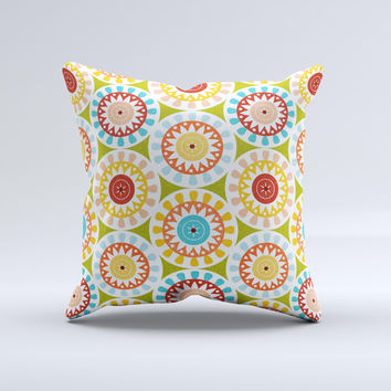 Vintage Vector Color Circle Pattern Ink-Fuzed Decorative Throw Pillow