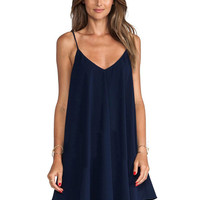 Blue V-neck Spaghetti Straps Chiffon Pleated A-Line Mini Dress