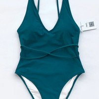 Cupshe Watch The Clouds Solid One-piece Swimsuit