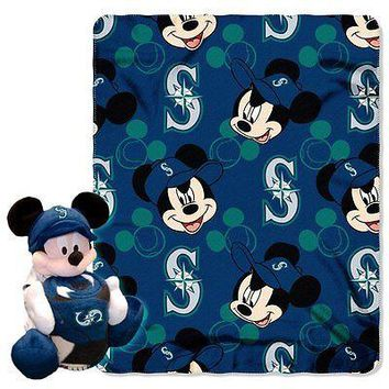 Seattle Mariners MLB Mickey Mouse Throw and Hugger Pillow Set