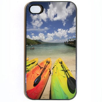 iPhone 4 Case Island Beach Canoes Theme Case comes by KustomCases