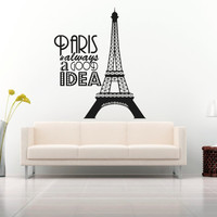 Wall Decal Vinyl Sticker Decals Art Decor Design Sign Paris is alwais good Idea Eiffel Tower France Map Europe Living Room Bedroom (r497)