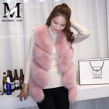 Women Natural Real Fox Fur Vest Autumn Winter Ladies 4 Strips Gilet Sleeveless Genuine Fur Coat Female Real Fur Vest Waistcoat