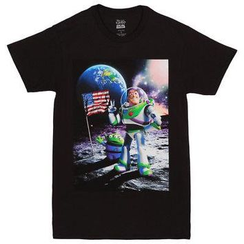 Toy Story Buzz Lightyear Moon Landing Disney/Pixar Licensed Adult T-Shirt - Blk