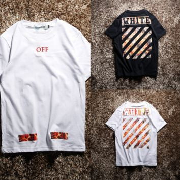 OFF Loose Striped Print Short-Sleeved T-Shirt