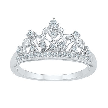 10k White Gold Round Diamond Womens Ladies Crown Tiara Fine Cocktail Band 1/5 Cttw 100887