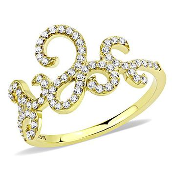14K Yellow Gold Russian Lab Diamond Ring