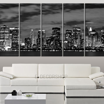 LARGE Wall Art Art Canvas Print New York at Night City Skyline - Wall Art  Canvas Print - Art Canvas Print for Wall Decor