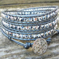 Beaded Leather Wrap Bracelet 4 Wrap with Silver Czech Glass Beads on Hematite Gray Silver Leather