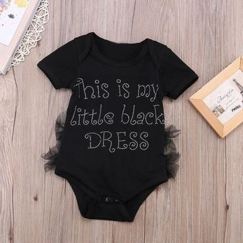 Cute Newborn Baby Romper Letter Print Toddler Kids Baby Girl Clothes Sleeveless Backless Lace Jumpsuit Playsuit Outfits Sunsuit
