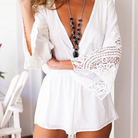 White V-Neck Lace Paneled Romper