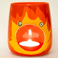 Calcifer Oil Burner - Studio Ghibli - Howls Moving Castle -  Boyfriend - Girlfriend - Red Candle Holder - Anime - Tealight - Wax Melter