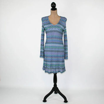 Long Sleeve Dress Women Blue Knit Dress Midi V Neck Bell Sleeve Dress Stripe Pointelle Small Medium Express Vintage Clothing Womens Clothing