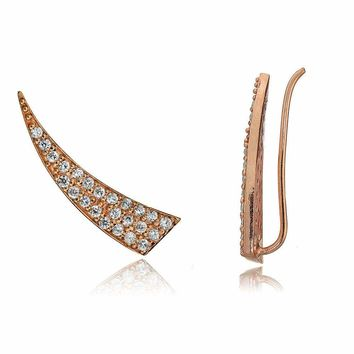 Rose Gold Flashed Sterling Silver CZ Horn Crawler Climber Hook Earrings