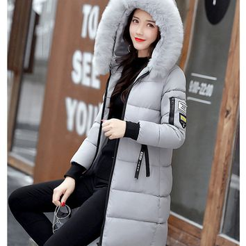 Hooded Quilted Winter Jacket Color Zipper Down Cotton Parka