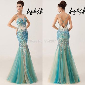 Vestido De Festa 2015 Shining Crystal Sweetheart Criss Cross Back Long Mermaid Prom Dresses Women Evening Party Dress
