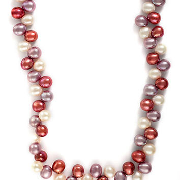Effy 14Kt. Yellow Gold Multi Colored Pink Pearl Strand Necklace