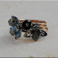 Black Nature Stacking Rings, Sterling Silver Mixed Metal Rings, Set of 3 Stacking Rings, Black Bee, Black Flower, 14k Gold Ring Stack