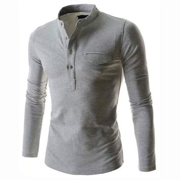 New Wine Red Polo Shirt Men Polo Autumn Men Fashion Long Sleeve Cotton Henley Shirt Brand Slim Fit Men Polo Shirts