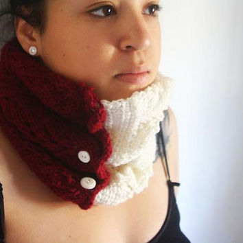 Crimson Knit Cozy Cowl