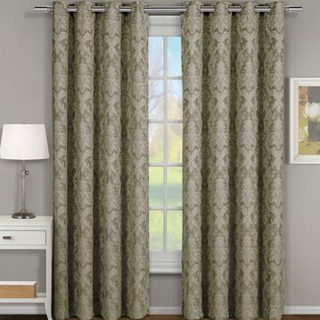 SAGE Blair Jacquard Grommet Top Curtain Panel Pair (Two Panels )